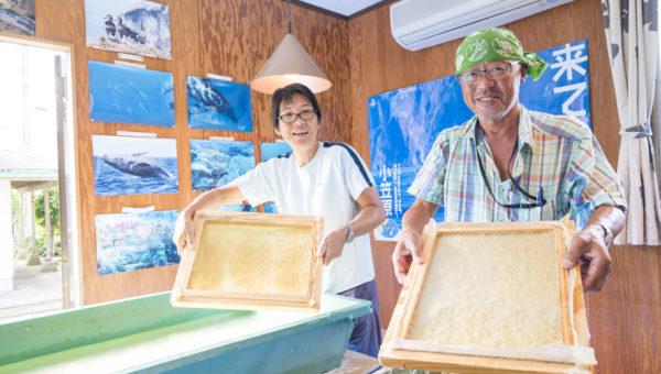 ギンネムの和紙を漉く風景
